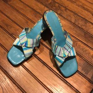 Liz Claiborne Flex Aqua Stripe Sandals. Size 11